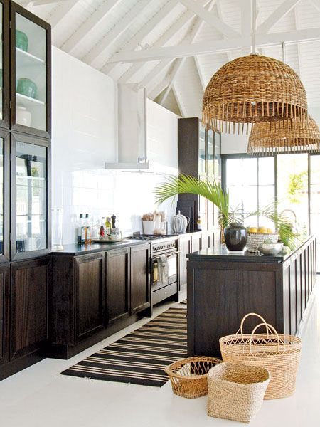 Love the oversized rattan pendants.