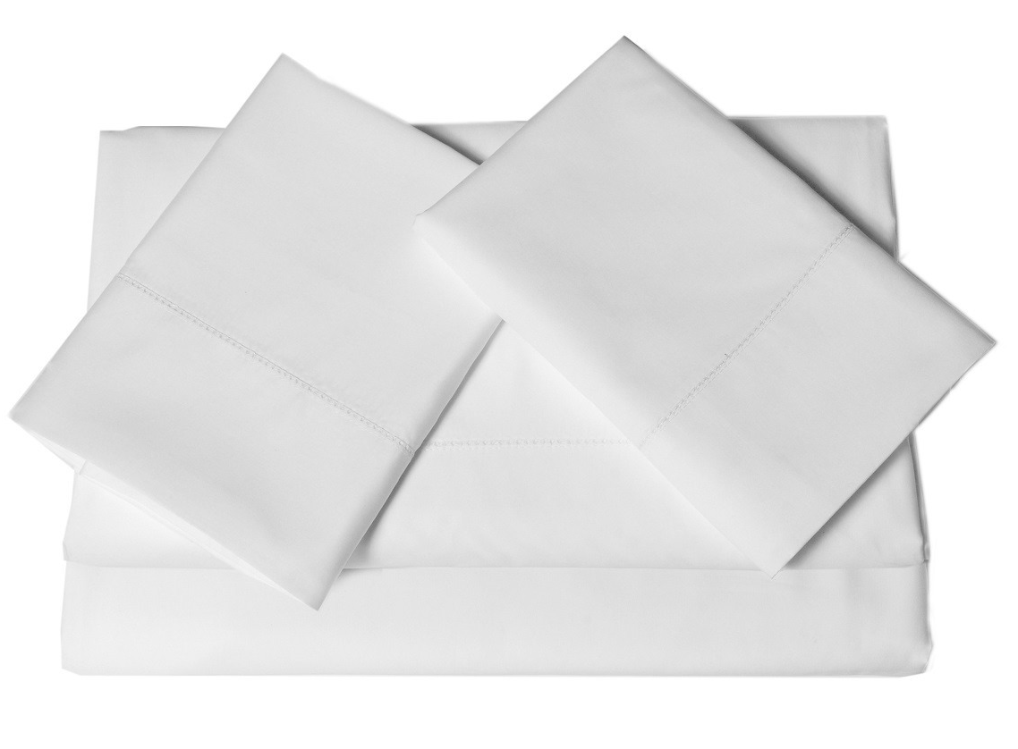 These are my go-to Egyptian Cotton sheets. I personally don't like a top sheet, but you can get the entire set on overstock.com. I like to mix whites and creams. Almost all my bedding at home is either white or cream and it can all be mixed together in any combo.