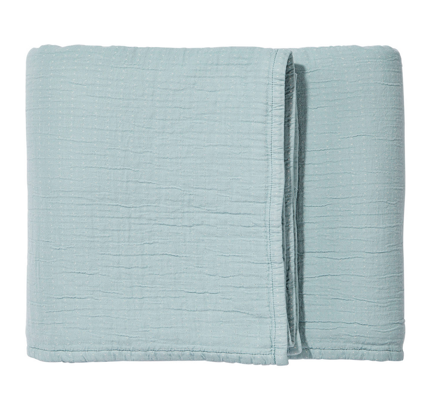 I am in love with this light weight blanket from Serena & Lily. It has the look of being ultra-worn in and is smooth on one side and textured on other, so it looks great folded over.