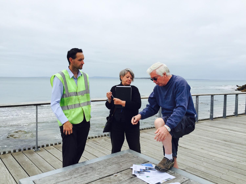 Daniel Barker,Engineer;Leanne Stein, M~M District Co-ordinator; Brian Thompson, Artist Photographer: Meme McDonald