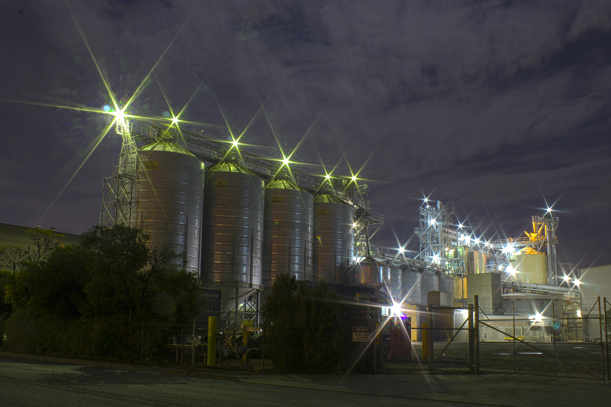 Industrial light show on the path from Moorpanyal Park to Steampacket Gardens