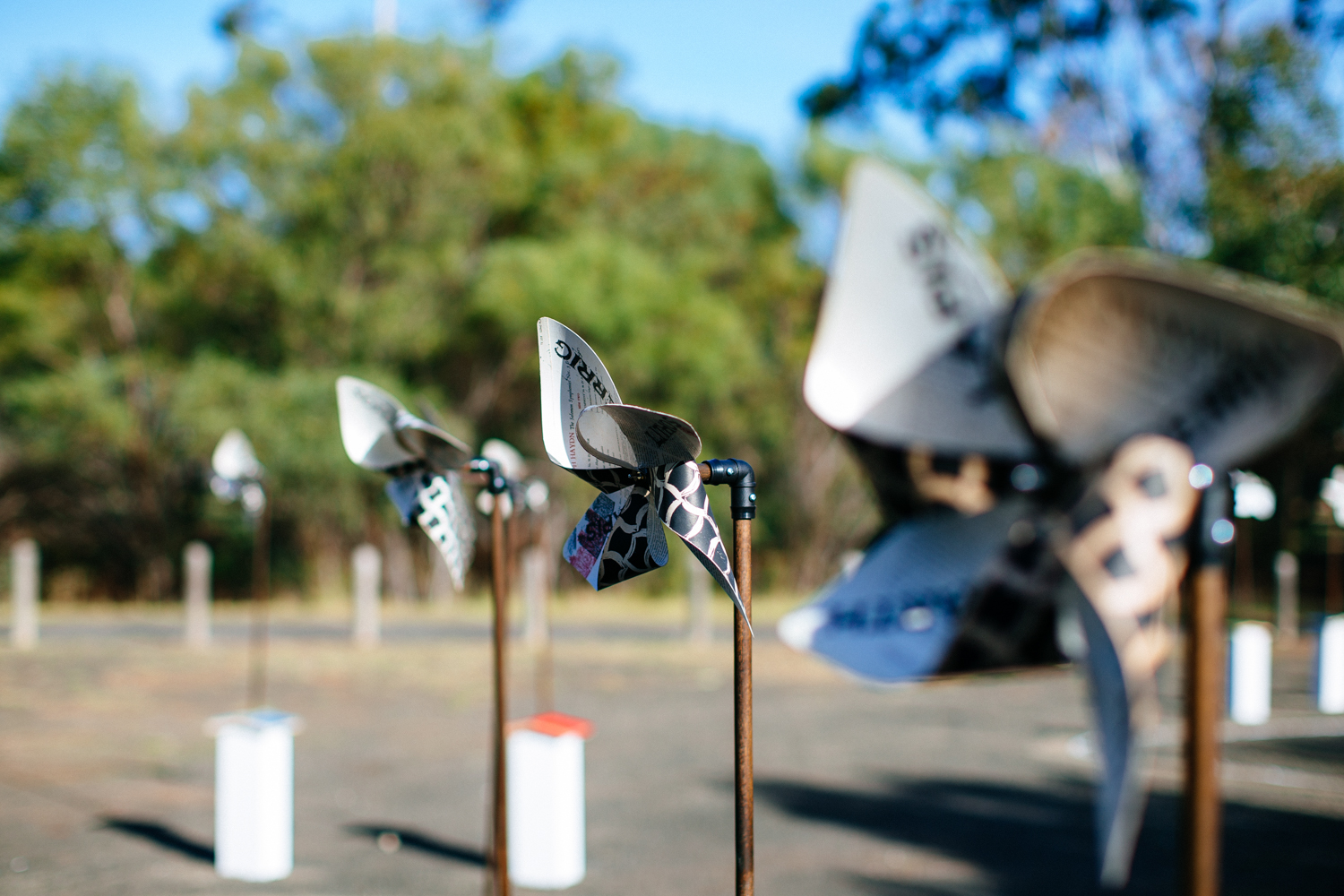 Handmade pinwheels animated by wind at Lara RSL, the second Songline Station.  Image by Ed Sloane Photography.