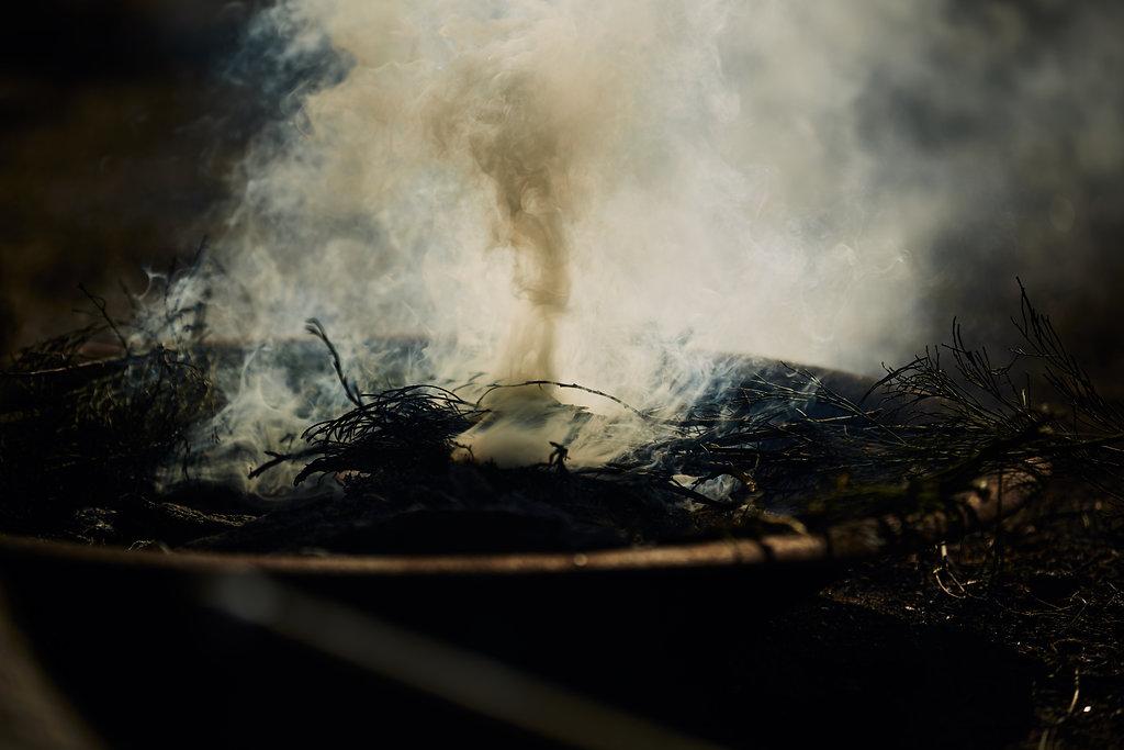 Smoking at Gathering of the City Ceremony; Photographer: Jarrah Lynch