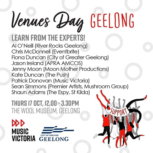 #venuesday is heading to G-town thanks to @musicvictoria and the Arts & Culture Dept of the City of Greater Geelong Thurs 17 Oct from 12pm at the @nationalwoolmuseum. It's #free but you have to book 👉🏻 https://www.eventbrite.com.au/e/Geelong-venues-day-tickets-74064758687