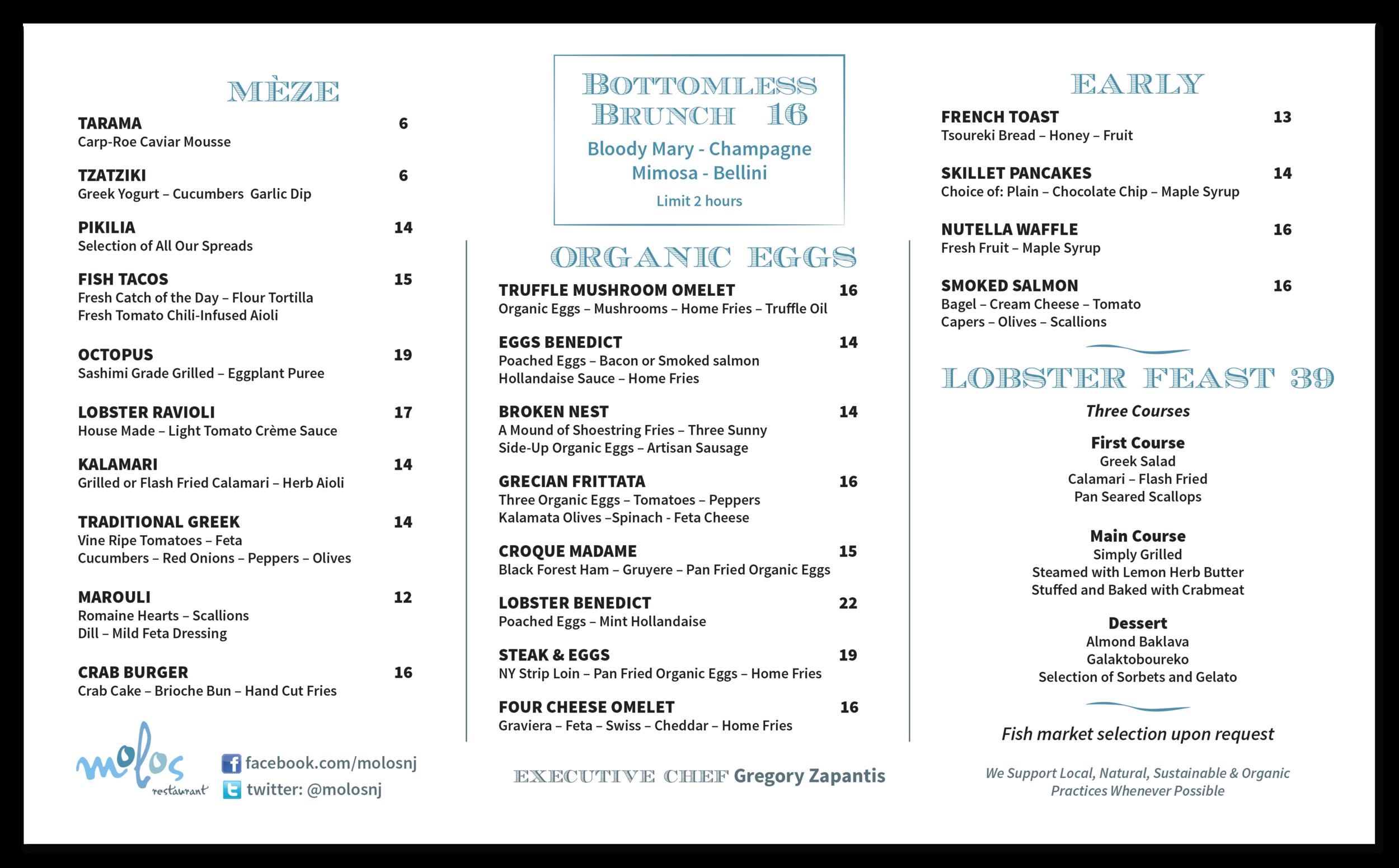 Brunch menu.