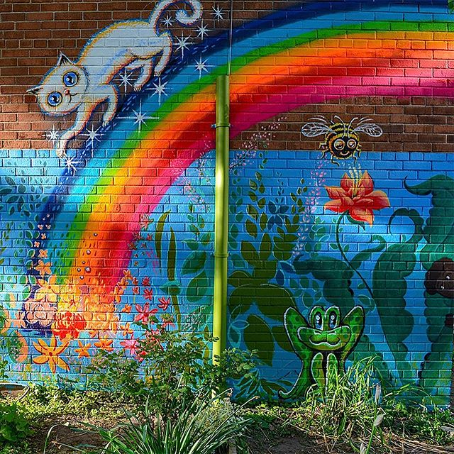 The Clara's Garden mural at Brooklyn's P.S. 9 went up one year ago 💖 @jeffbeler brought several amazing artists together & made it happen – thank you! #clarasgarden