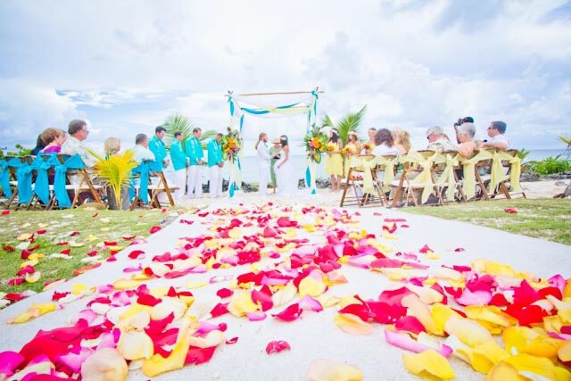 Large group cruise wedding at Surfer's Beach, Grand Cayman