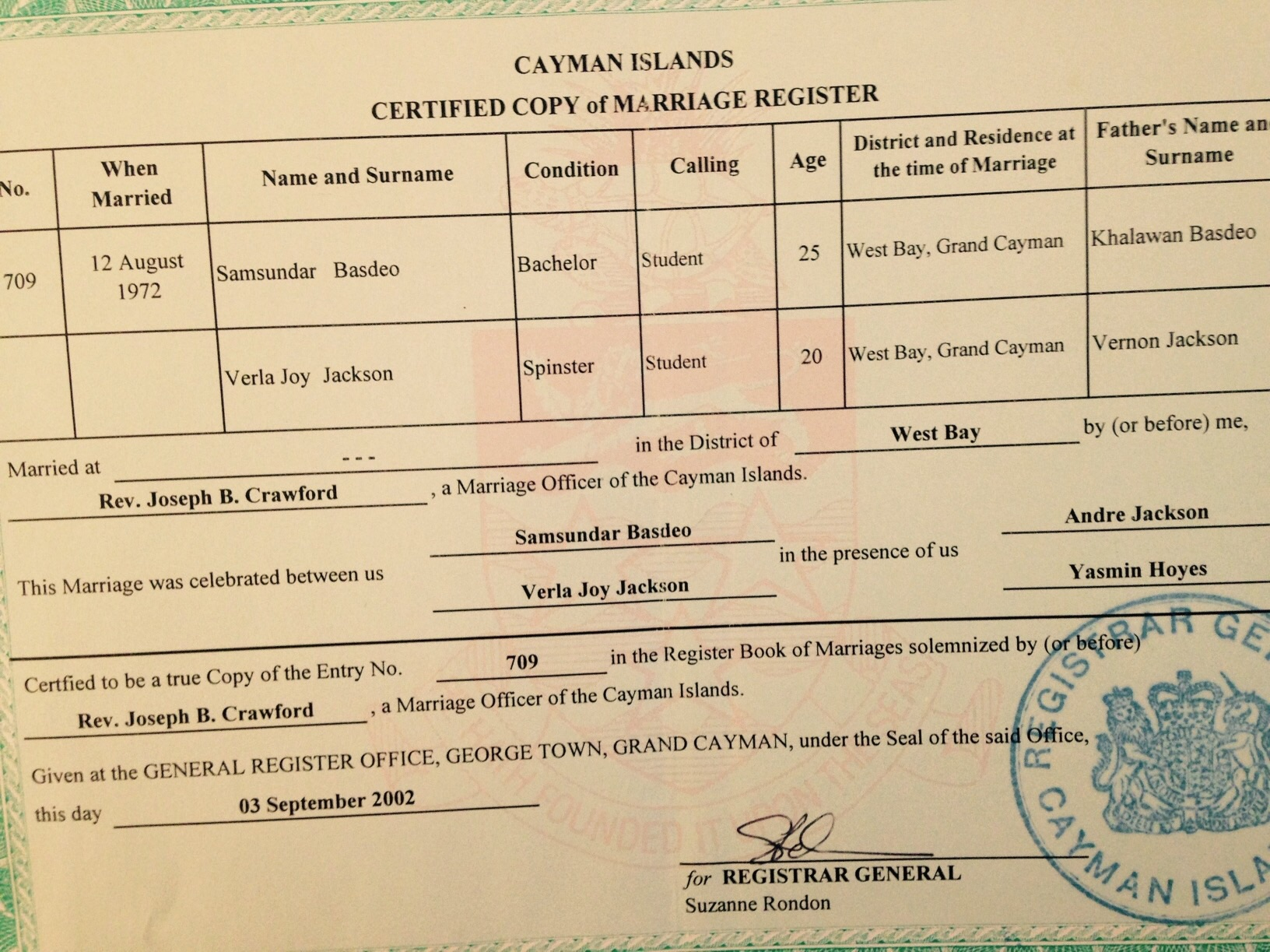 Why you need a Cayman Registered Marriage Certificate, and how to get it!
