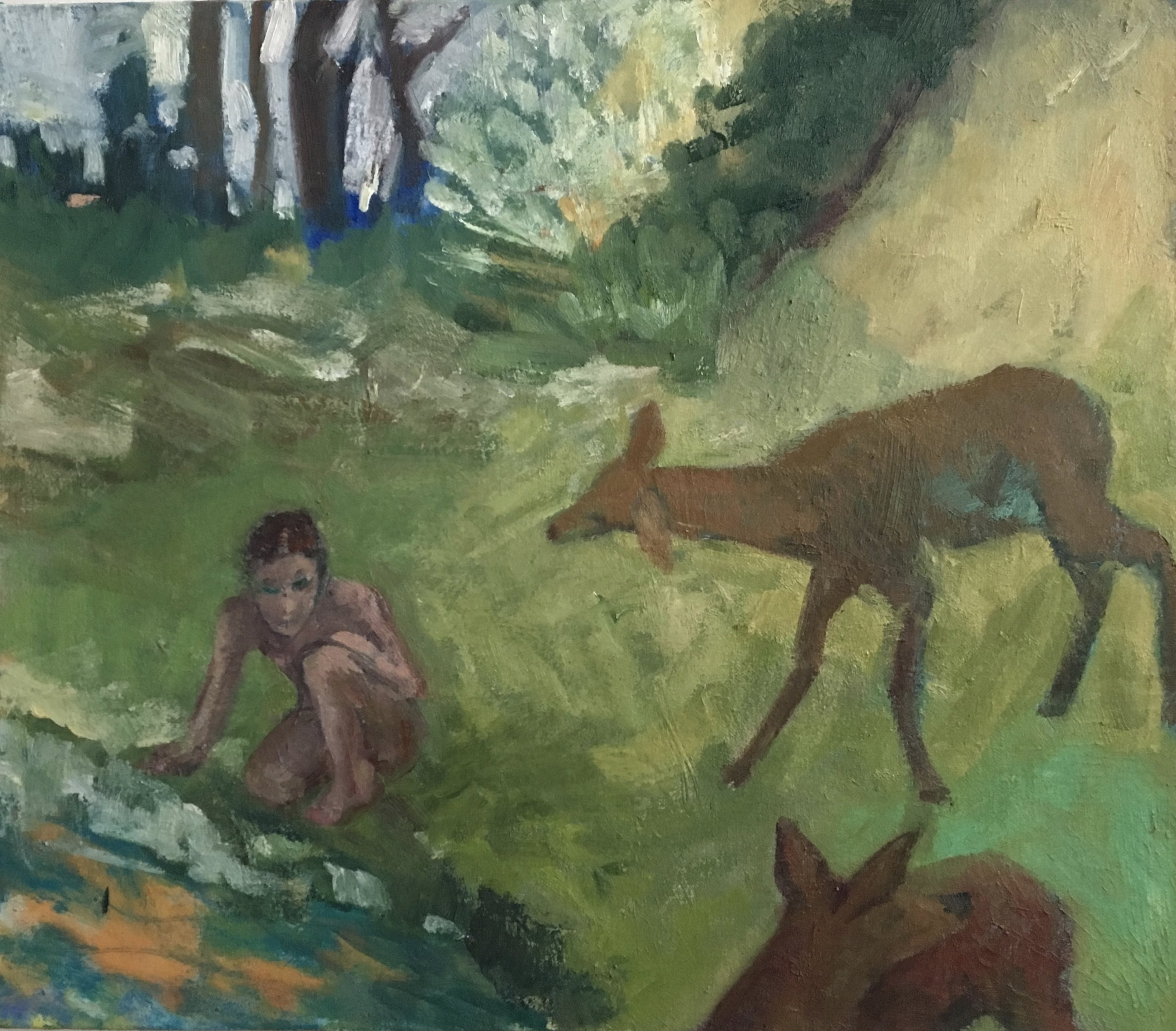 Two Deer and a Figure, 2016