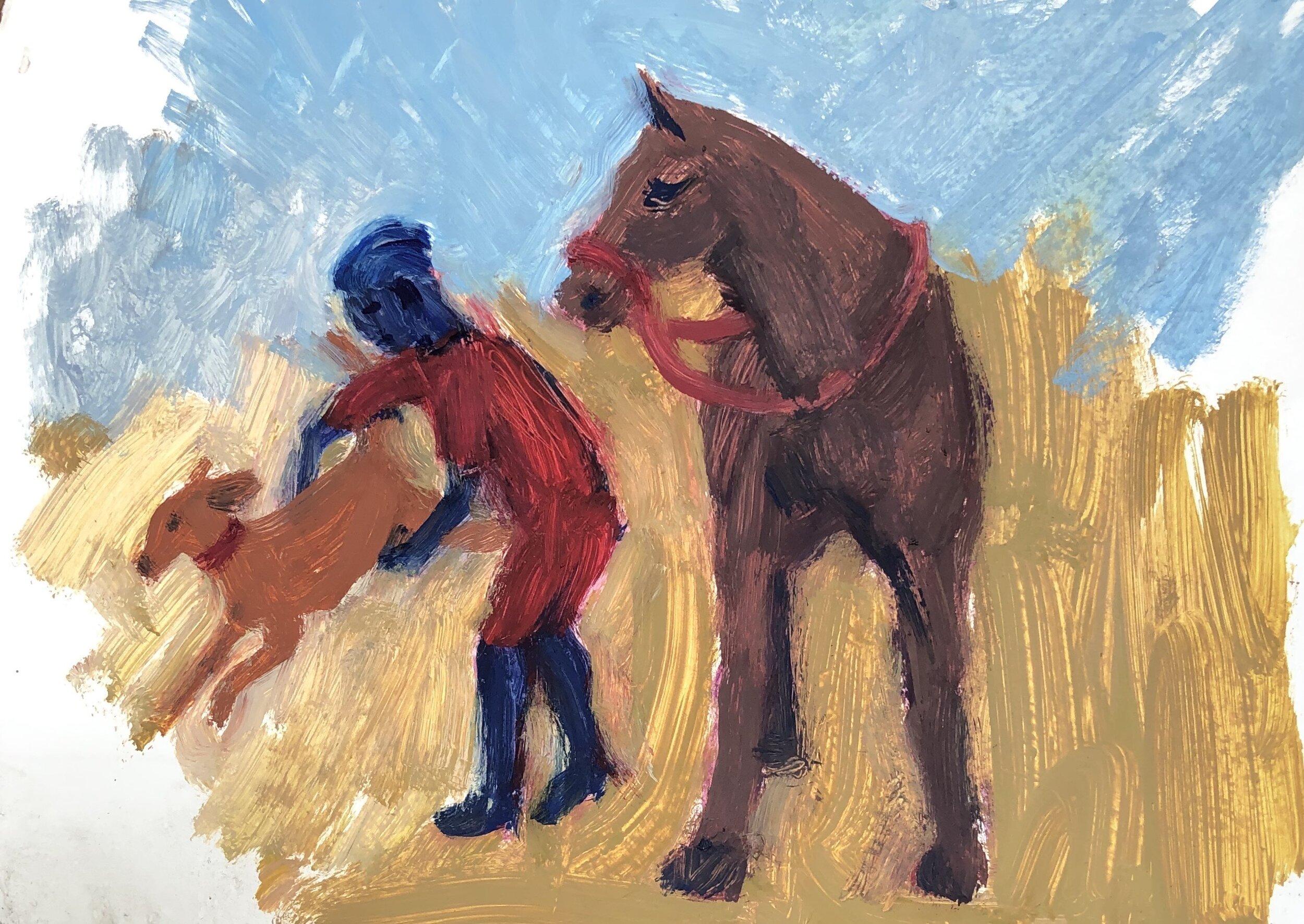 a dog, a child, a horse, 2019
