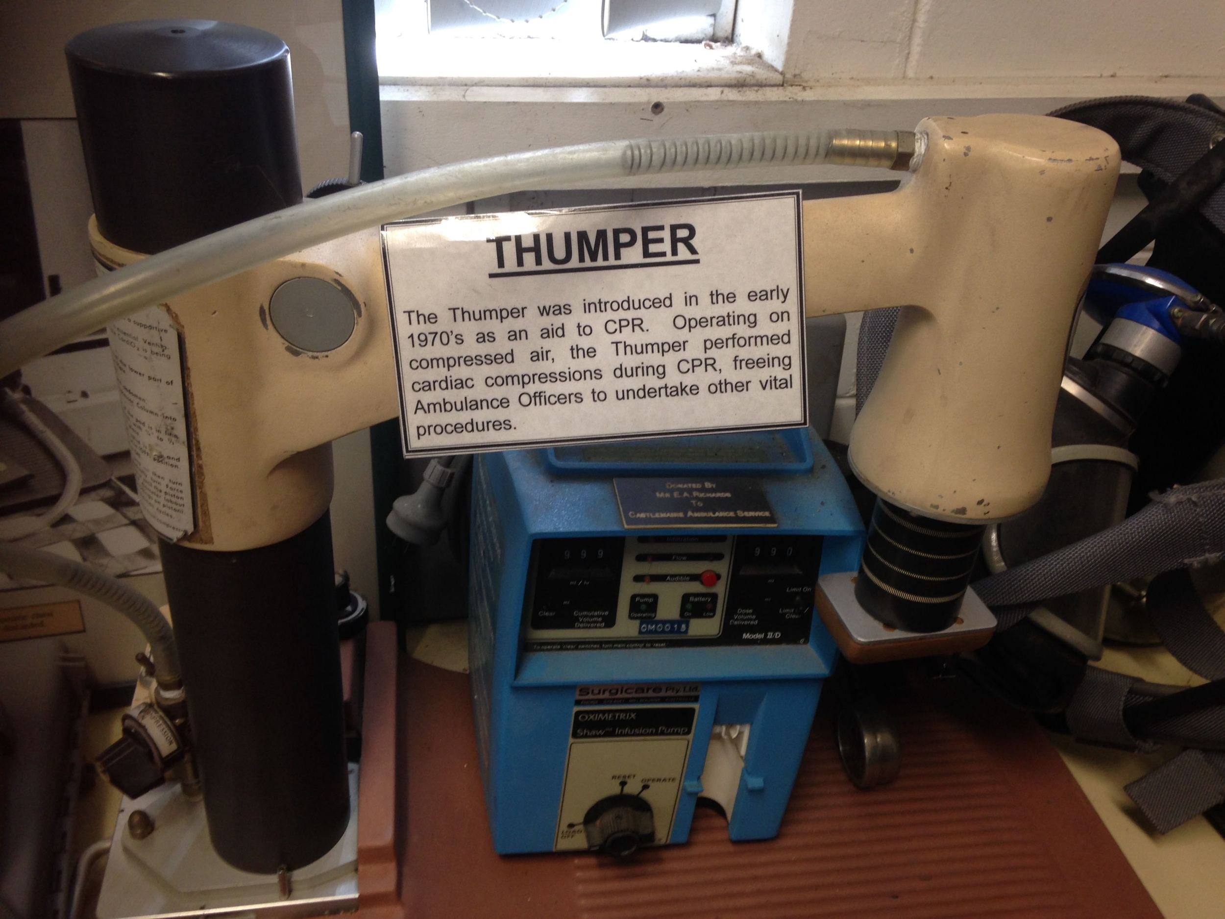 The Thumper was introduced in the early 1970s as an aid to CPR. Operating on compressed air, it performed cardiac compression during CPR, freeing Ambulance Officers to undertake other vital procedures