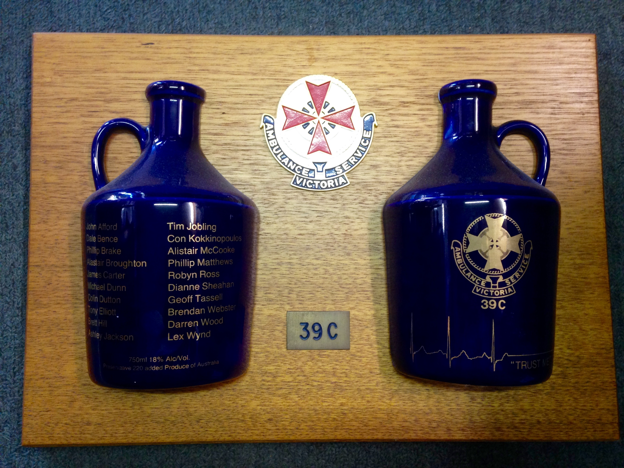The Honour Board from graduating class 39C, 1991. Ambulance trainees developed a tradition of designing their own student honour boards