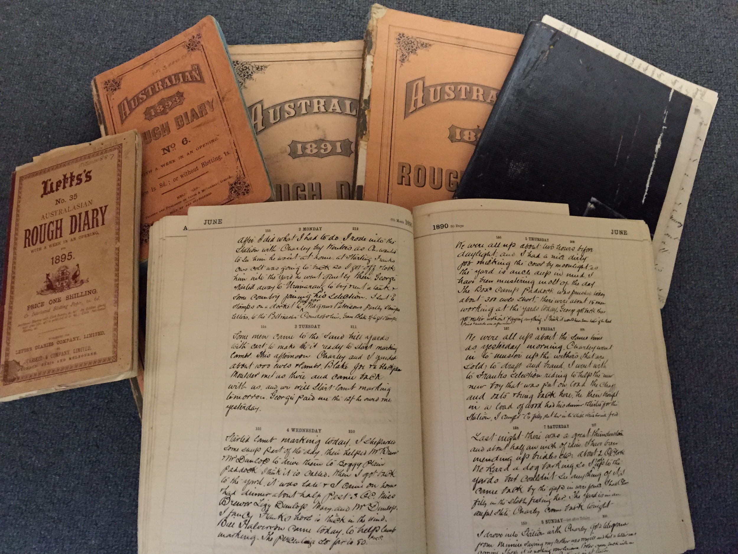 In the RHSV manuscript collection - a handful of the 54 meticulous journals by Arthur Hunter from 1890 to c1942 recording the daily occurrences of farm life, accounts, correspondence,weather... He raised beef cattle and later had a dairy farm, ran horses and established an orchard.