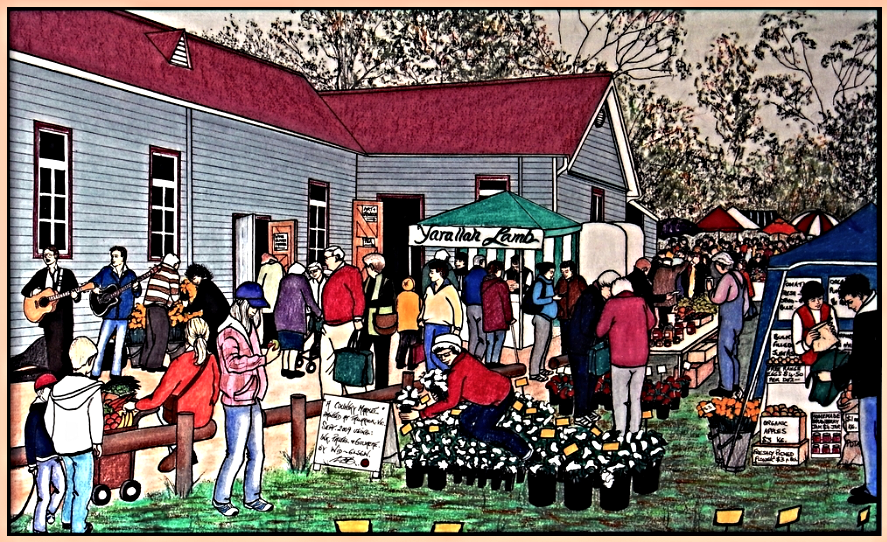 An artists impression of the extremely popular Tallarook Farmers' Market, held at the Tallarook Mechanics Institute hall each month.
