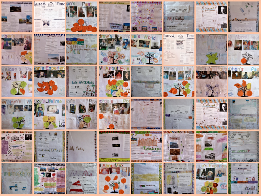 A collection of the posters the Tallarook Primary School Students made about their community and family history.