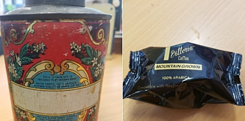 Old reused coffee tin and coffee pod in plastic packaging led to a great discussion on reasons for recycling in the past and today