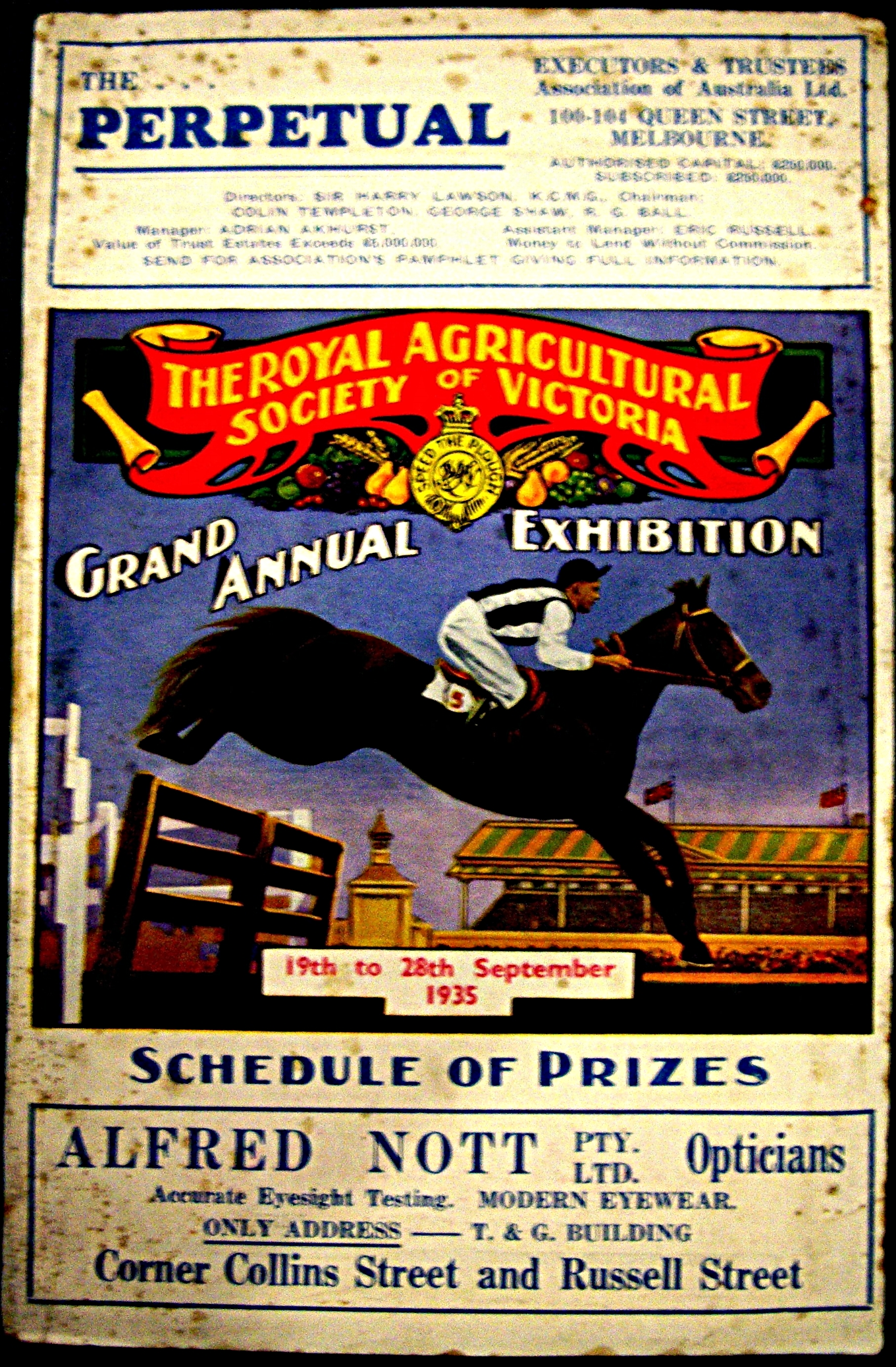 The RASV's Gran Annual Exhibition Schedule of Prizes for 1935