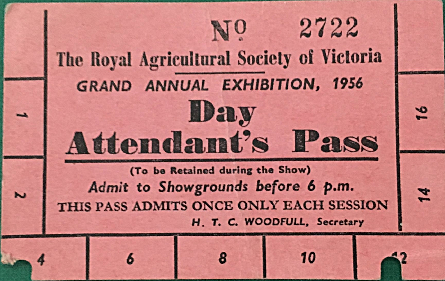 14.03.2018 - 1956 Grand Annual Exhibition Day Attendant's Pass.JPG
