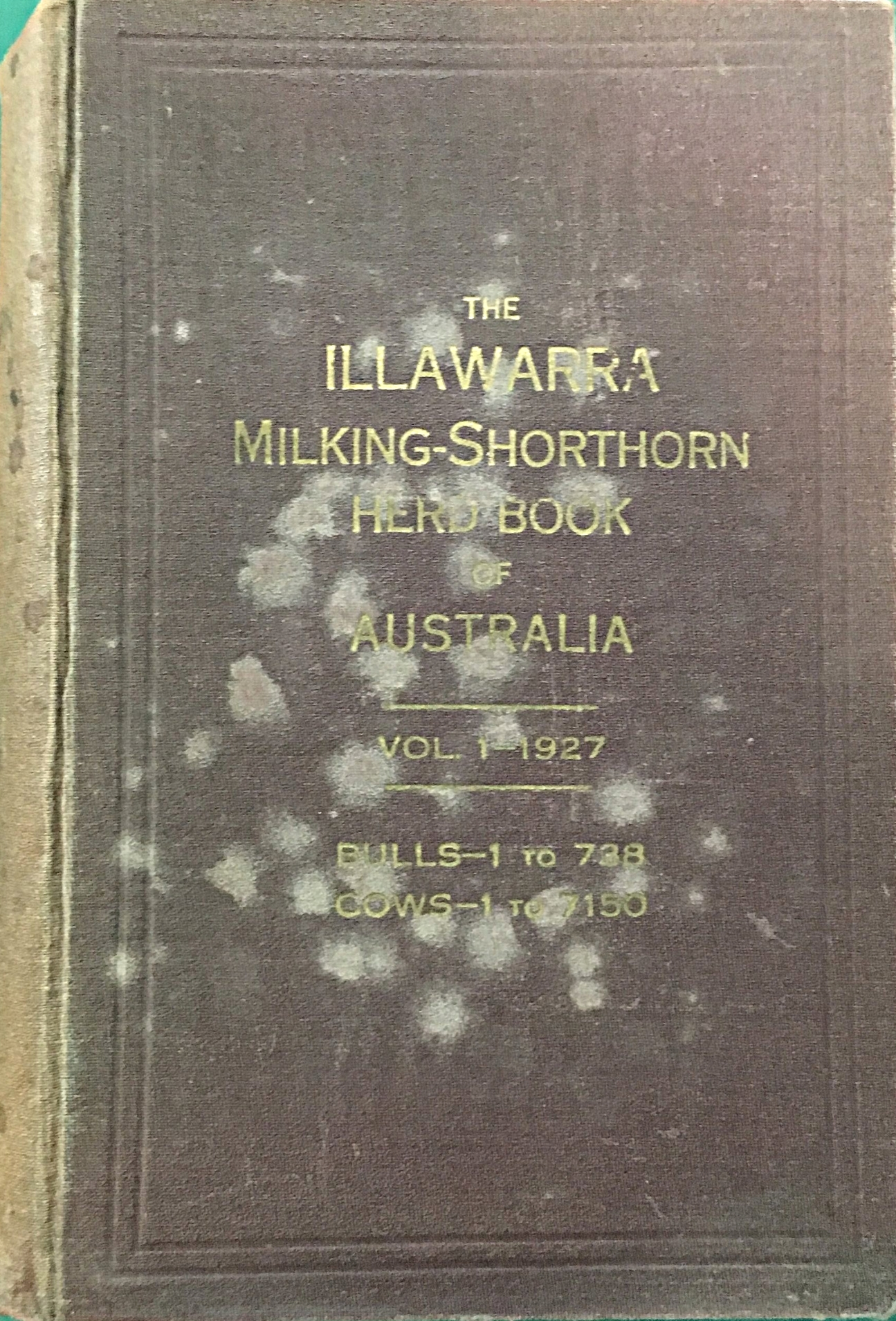 The Illawarra Milking-Shorthorn Herd Book of Australia. Vol 1 1927. Bulls - 1 to 738. Cows - 1 to 7150