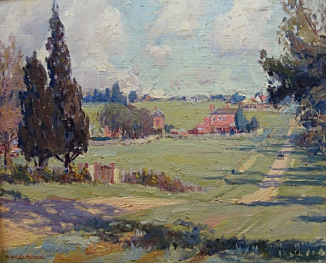 Adeney Ave, Kew, WilliamNichols Anderson, 1906. Oil on canvas. Donated by Lucy Hornby, 1984.png