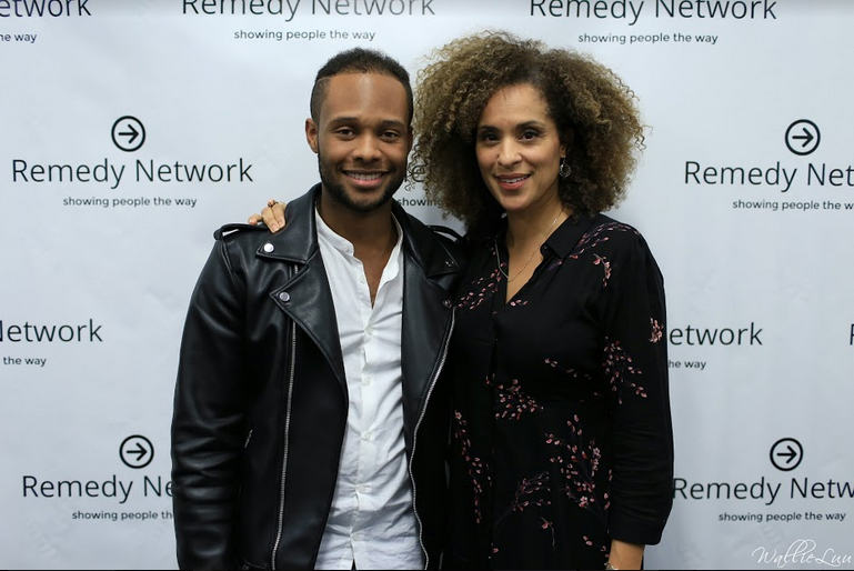 J. Caleb Perkins with Karyn Parsons (Hilary Banks/Sweet Blackberry Foundation)