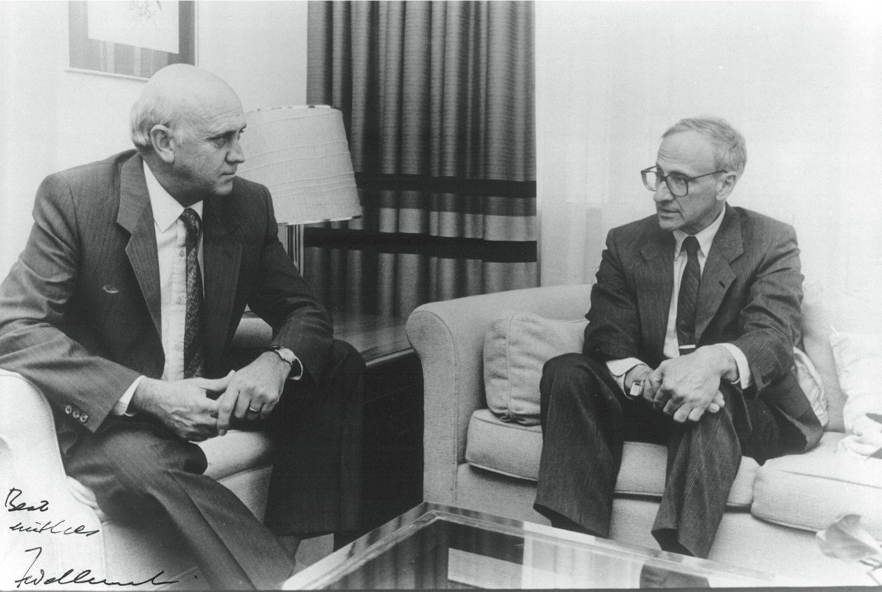 With F.W. de Klerk in May 1990.