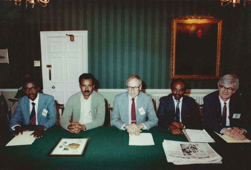 Ending the War for Eritrean Independence: London, England, May 31, 1991. On Cohen's left is Meles Zenawi, Prime Minister of Ethiopia. On Cohen's right is Isayas Afwerki, President of Eritrea.