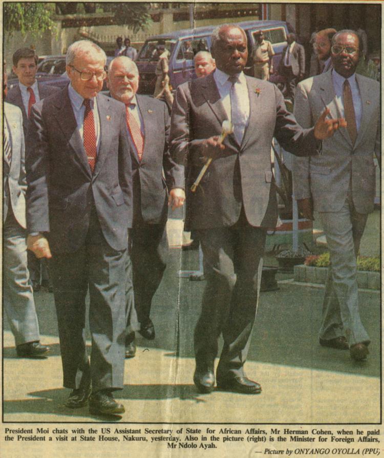 With President Arap Moi of Kenya, 1990.