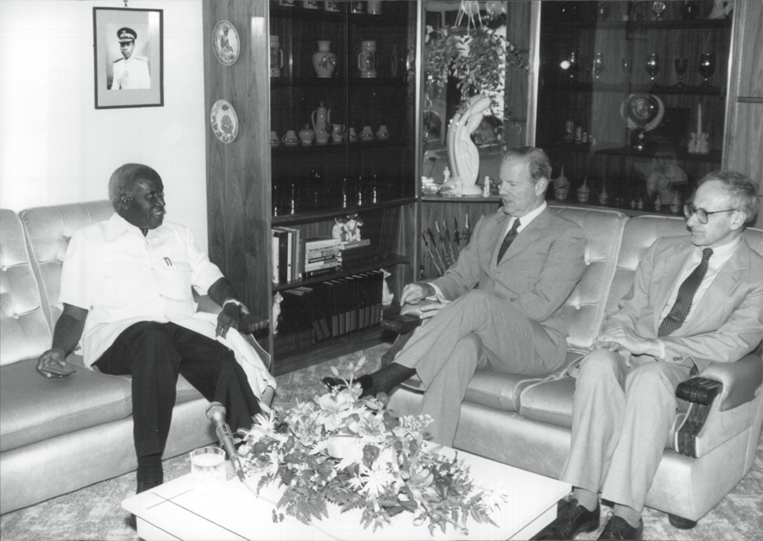 With Kenneth Kaunda of Zambia and Secretary of State Baker in 1990.