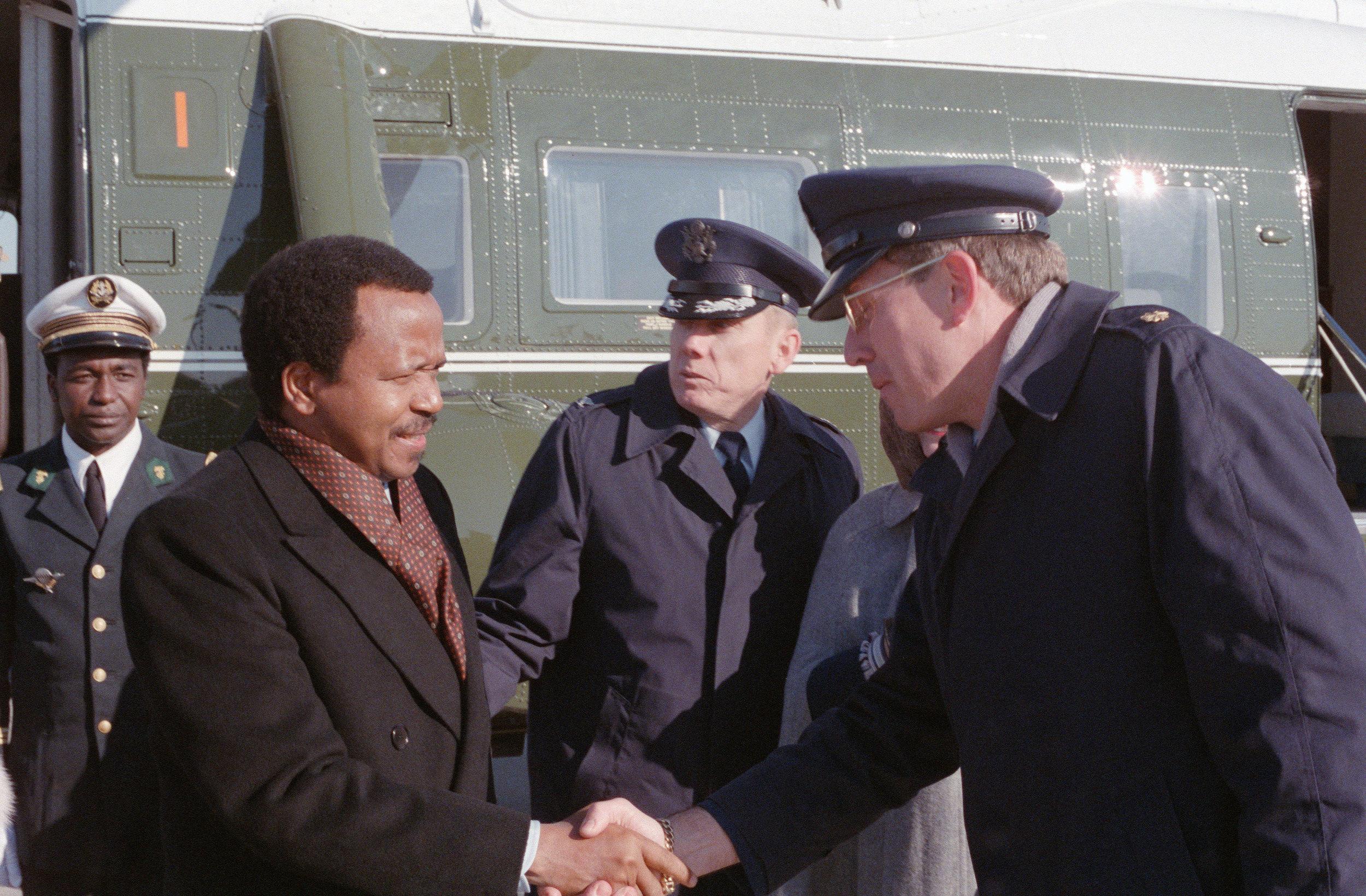 Paul Biya at Andrews Air Force Base in 1986.