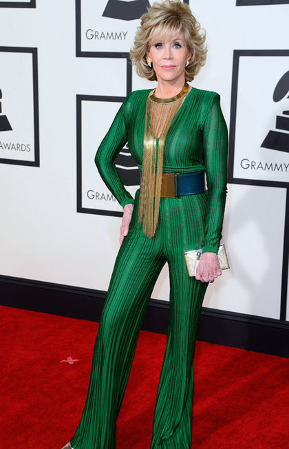 Before you criticize let me say this...She is 77 years old and she looks BEYOND Fabulous! I love the makeup, signature Jane hair and outfit. I see women half her age who don't look this good. You go Jane!!