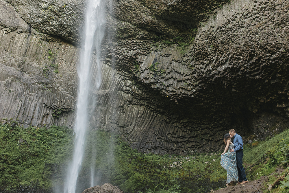 Latourell Falls Engagement Photos by Alixann Loosle