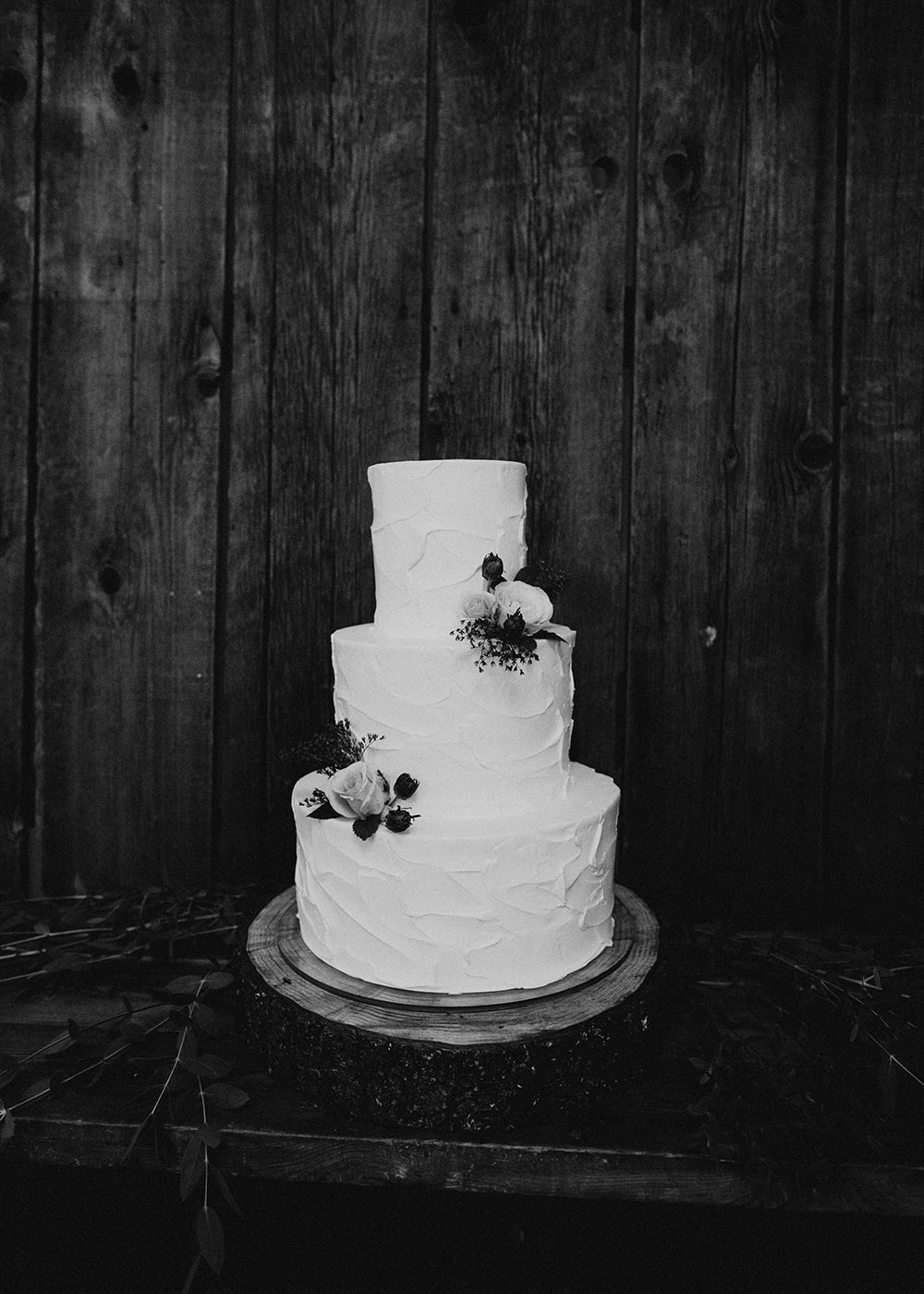wedding cake setup in black and white