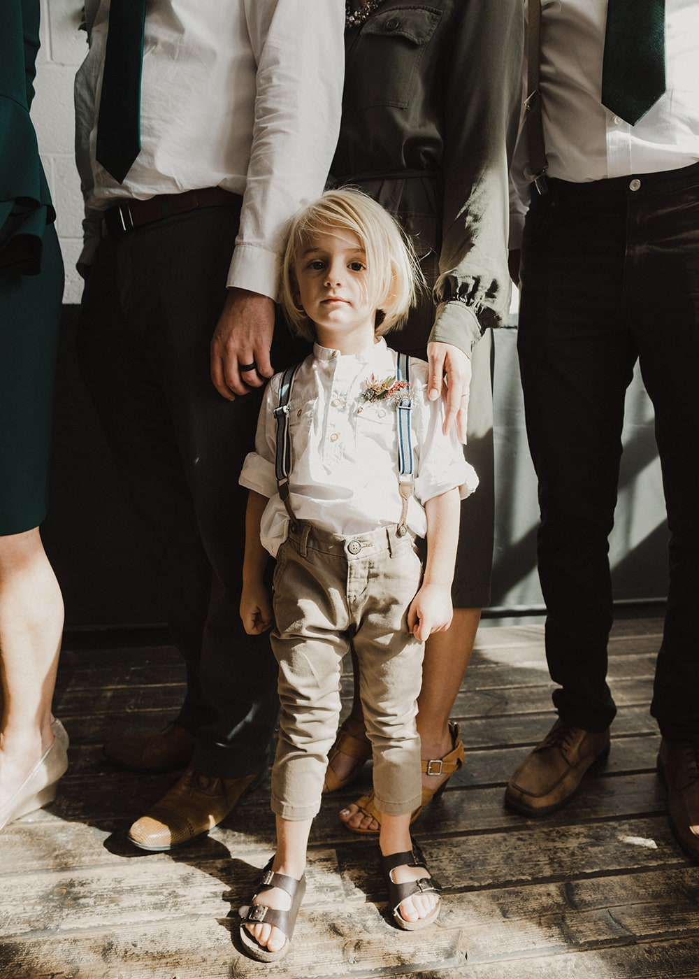 Little boy disheveled during ceremony