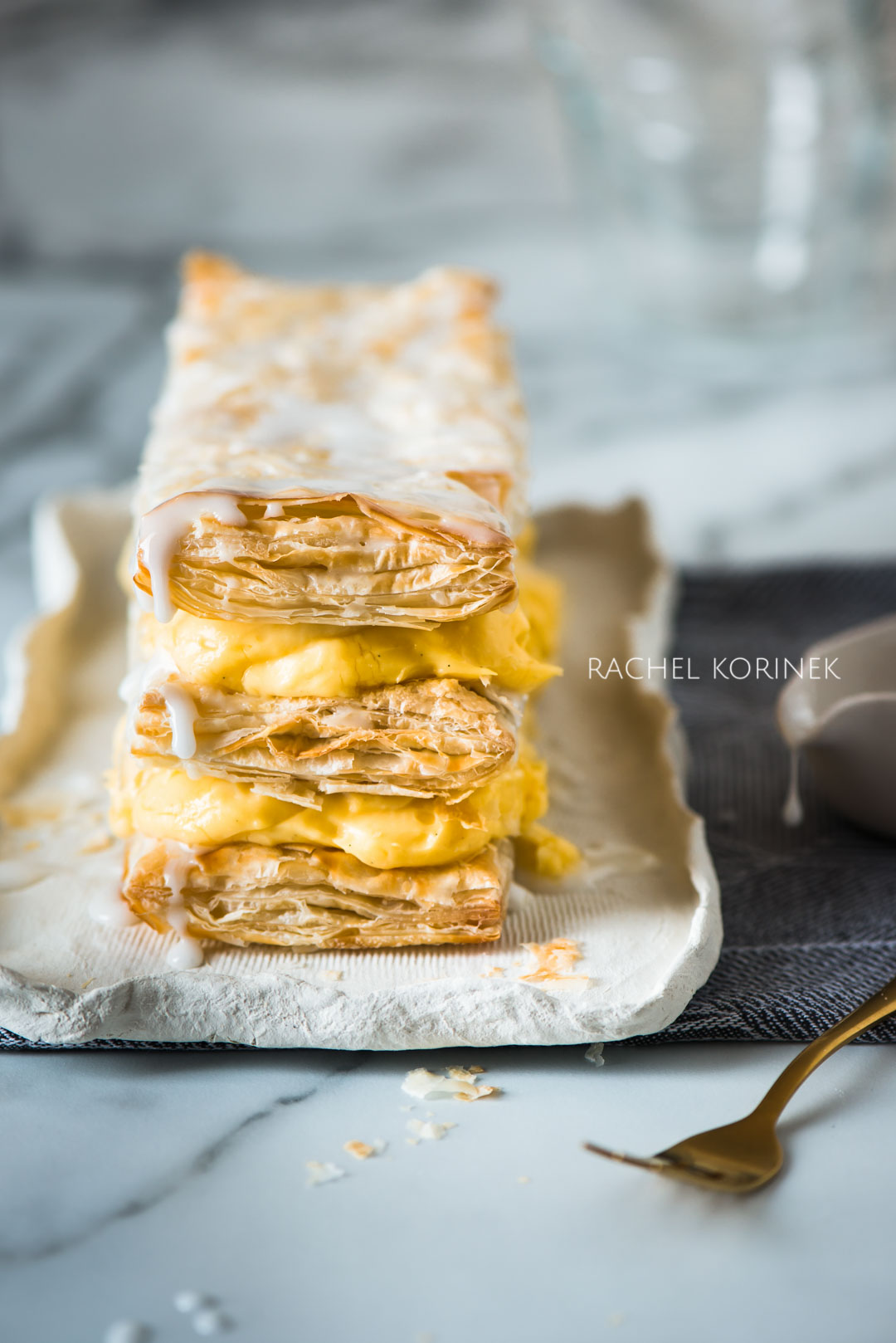 Rachel Korinek Melbourne Food Photographer Vanilla Slice  Click to check out my latest food photography projects.  #twolovesstudio #beautifulcuisine #foodbloggerpro #foodphotography #learnfoodphotography #foodblogger #learnphotography #foodstyling #lightingtips #naturallight #foodphotographer
