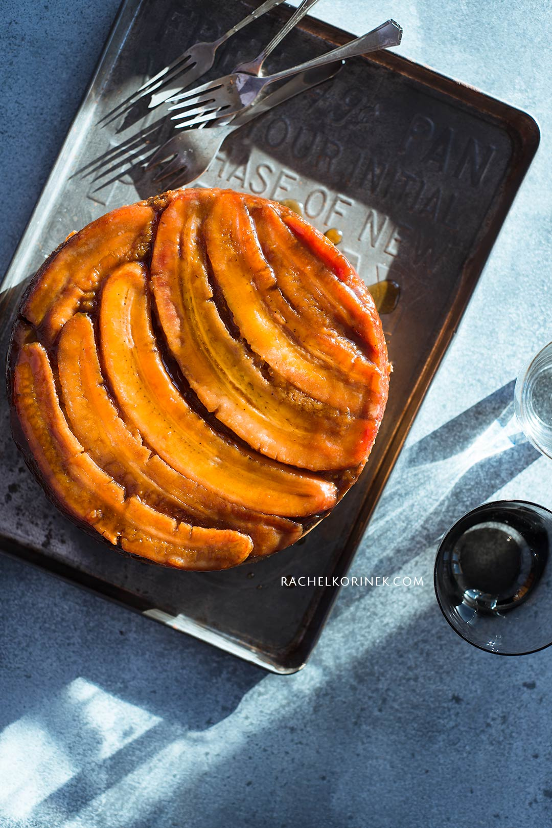 Upside Down Banana Cake Food Photography | Rachel Korinek  Click to check out my latest food photography projects.  #twolovesstudio #beautifulcuisine #foodbloggerpro #foodphotography #learnfoodphotography #foodblogger #learnphotography #foodstyling #lightingtips #naturallight #foodphotographer