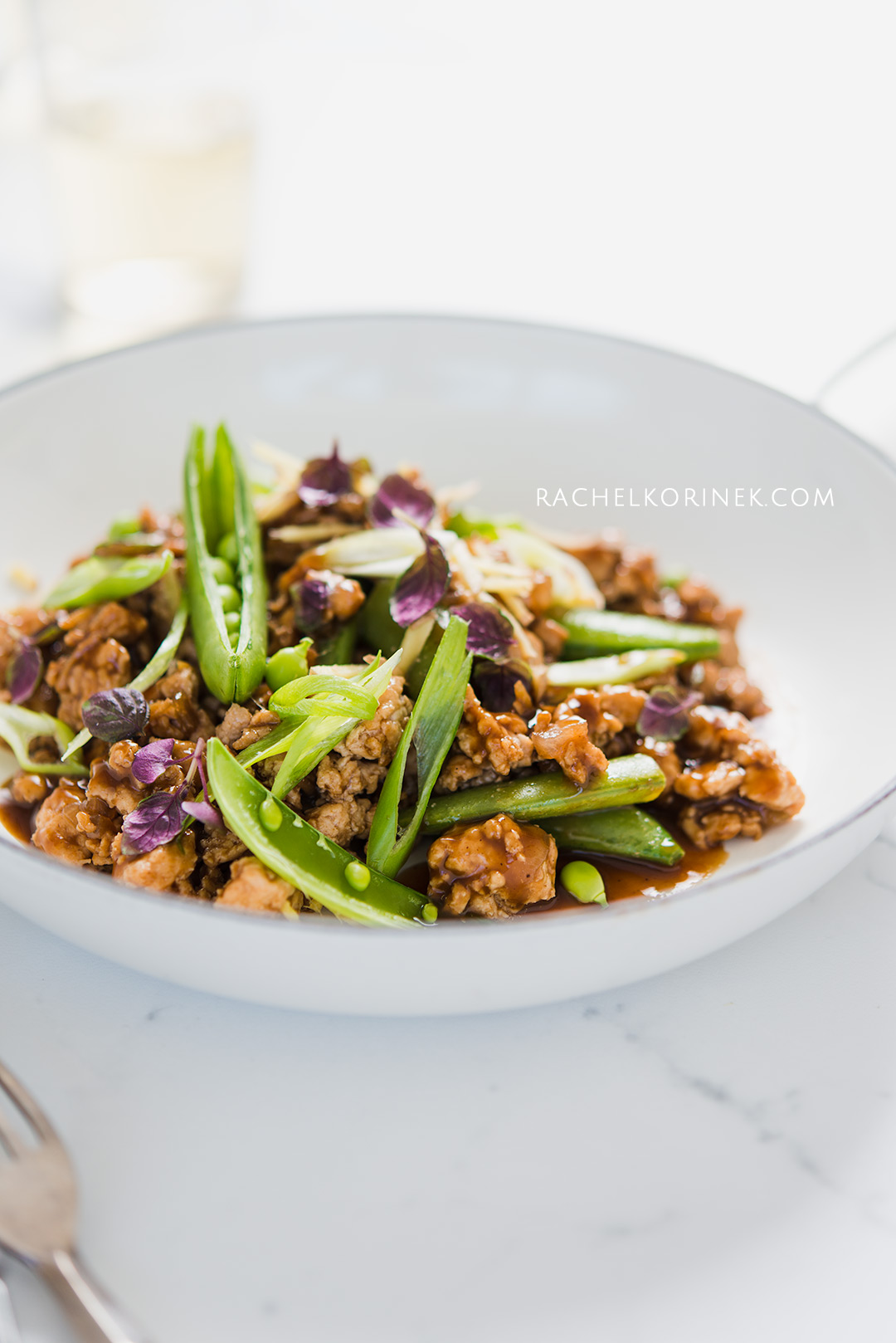 Rachel Korinek Food Photographer | Ground Chicken Black Bean Stir Fry  Click to check out my latest food photography projects.  #twolovesstudio #beautifulcuisine #foodbloggerpro #foodphotography #learnfoodphotography #foodblogger #learnphotography #foodstyling #lightingtips #naturallight #foodphotographer