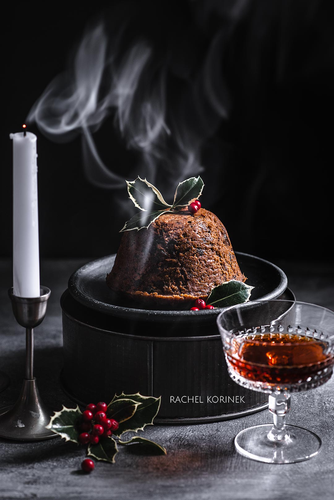 Rachel Korinek Food Photographer | Christmas Pudding  Click to check out my latest food photography projects.  #twolovesstudio #beautifulcuisine #foodbloggerpro #foodphotography #learnfoodphotography #foodblogger #learnphotography #foodstyling #lightingtips #naturallight #foodphotographer