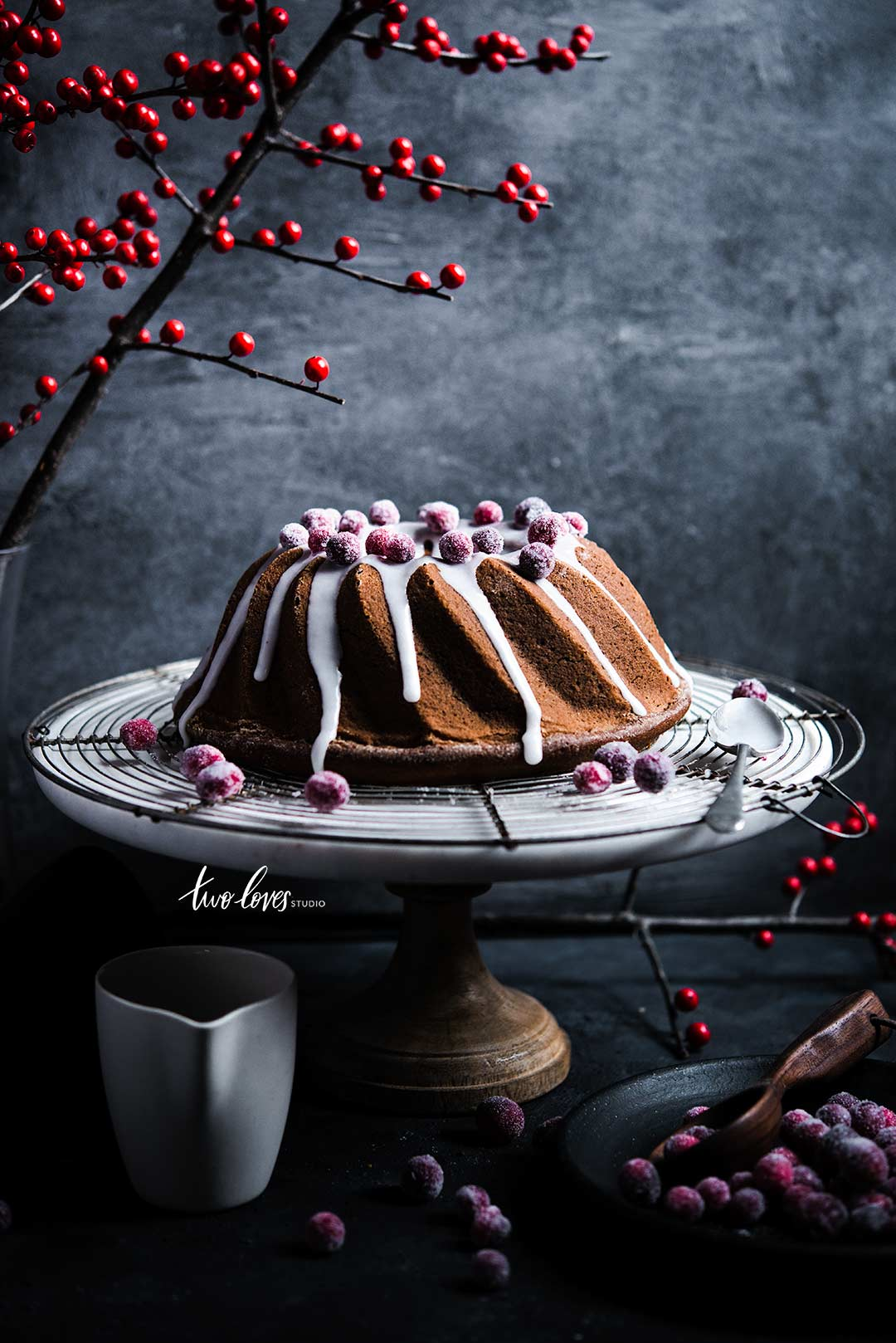 Rachel Korinek Food Photography | Gingerbread Bundt Cake with Sugared Cranberries
