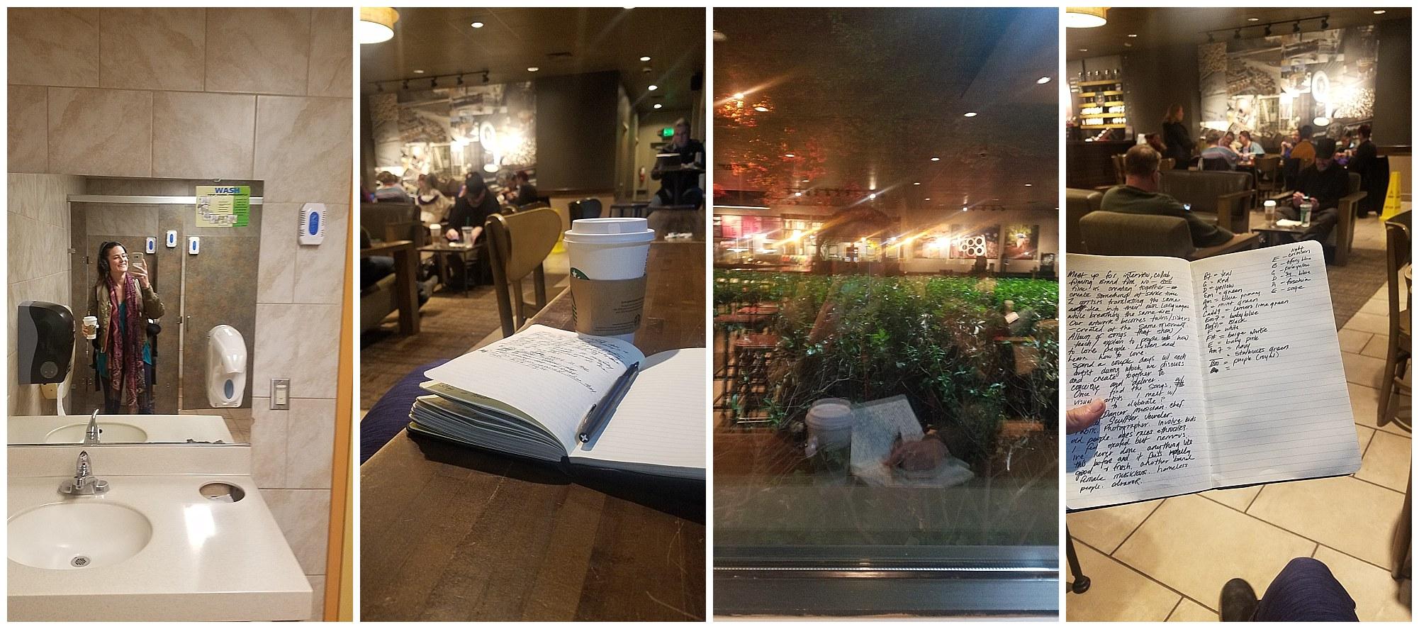 cha wilde - journaling in starbucks coffeeshop