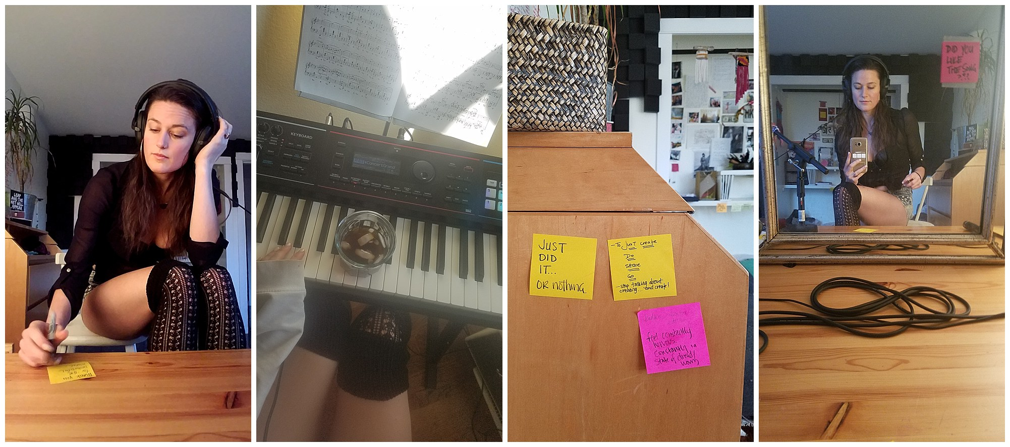 cha wilde - writing music - post it notes