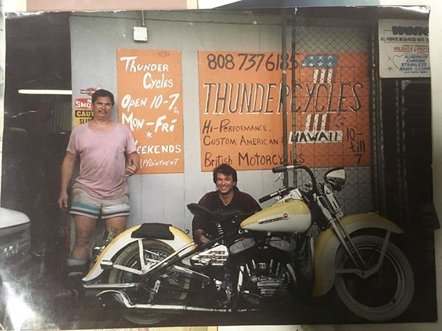 "Back in the day photos from our workshop! Before us and before the ""Moped Shop"" there was this wild crew building custom bikes. The spirit from this crew is still around and being extended through us and our passion for fabrication, but the neighbors do like us more 😉🤟🏽🛠🤙🏽 #luckywelivehawaii #oldschoolhawaii"