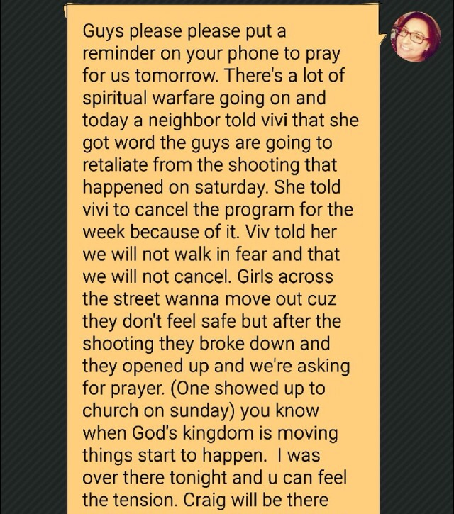 Text received last night from friends running an after school program through City Church of Compton.