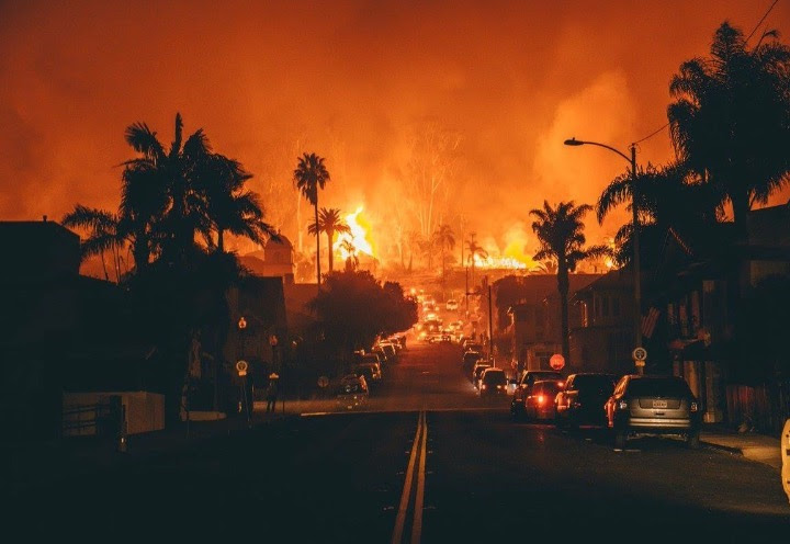 A photo taken from out front of our friend's apartment, who have been evacuated all week