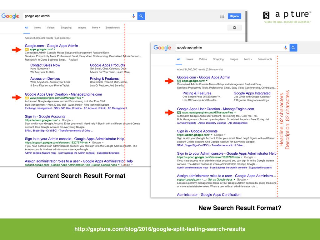 Google split testing different search result format