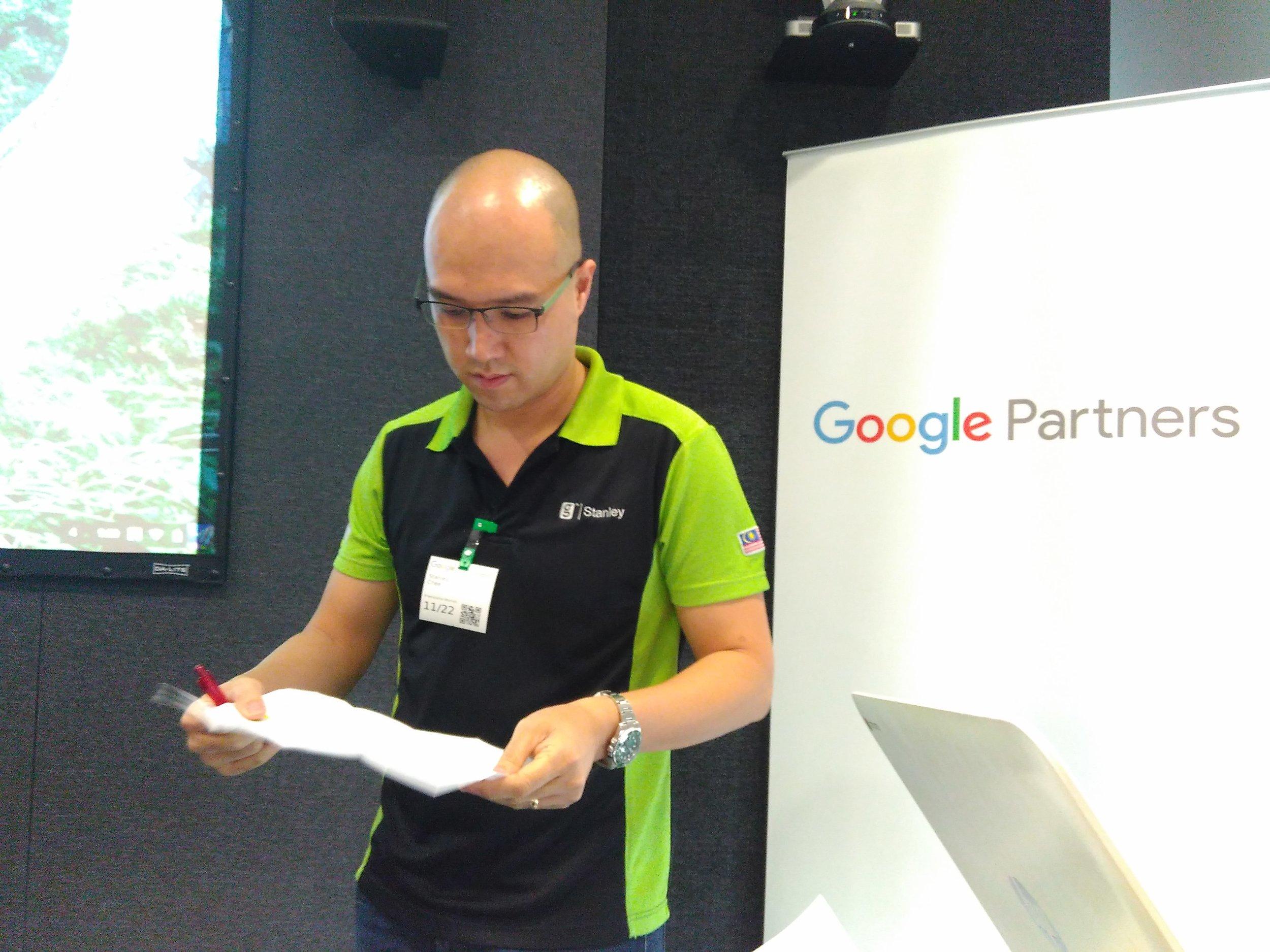 Google Regional Trainer, Stanley Chee