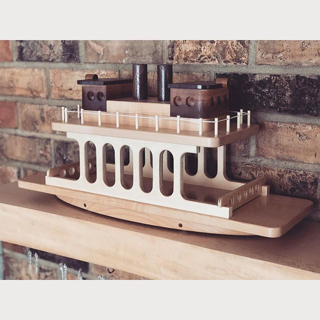 ~ I've always had this romantic vision of my kids having all hand made wooden toys made by me. That's far from the reality, but I sure had a lot of fun making this ferry boat for them last Christmas. ~
