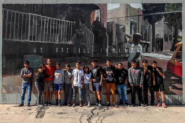 @axelvoid with a group of students from his artist led mural workshops this week @dr.mayaangelouhs