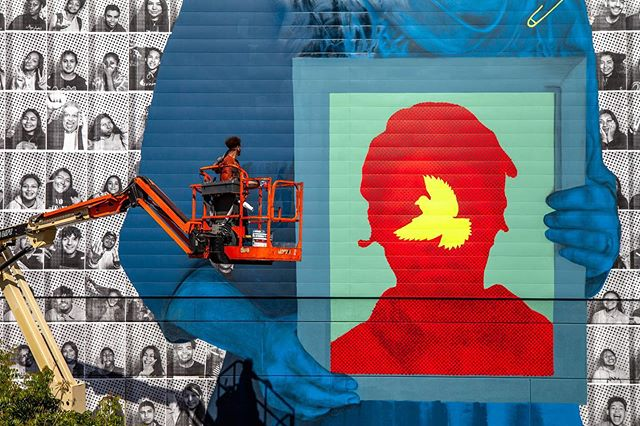 @douglyfesucks & @insideoutproject in progress for @brandedarts Maya Angelou Mural Festival