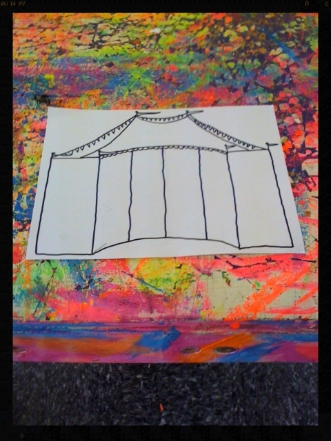 Curtis Canaday 's sketch of the blacklight responsive circus tent backdrop for  Batguy is Dead .